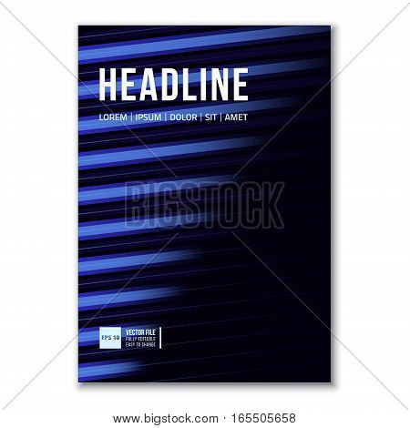 Cover Design Template in A4 size. Blue Lines. Annual report brochure design vector. Flyer layout with abstract background