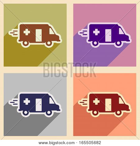 Set flat icons with long shadow ambulance car