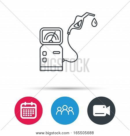 Gas station icon. Petrol fuel pump sign. Group of people, video cam and calendar icons. Vector