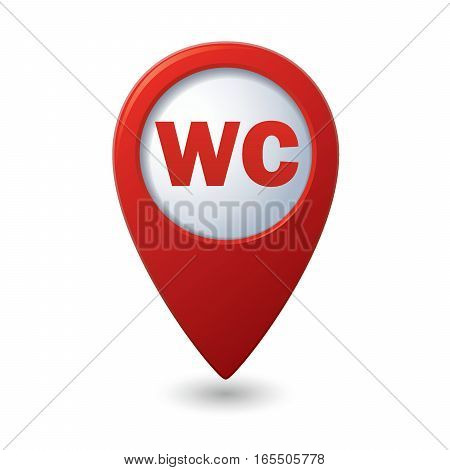 Red map pointer with restroom, WC icon