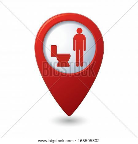 Red map pointer with restroom icon, man. WC icon