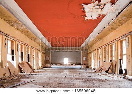 old leave deserted room, ancient casern building