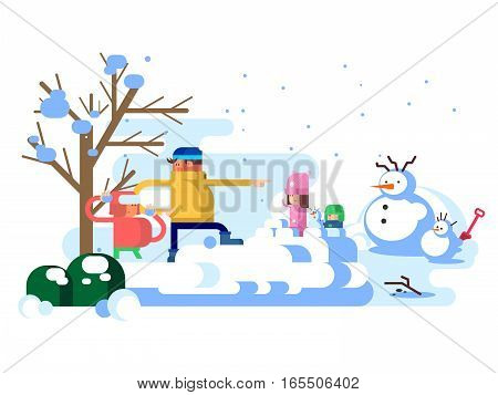 Children playing snowballs. Winter snow outdoor, childhood and happy, snowman and girl play with boy, vector illustration