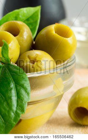 Green Marinated Olives Close-up