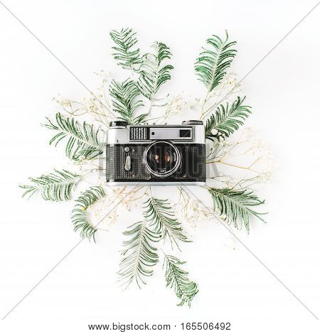 Vintage retro photo camera yellow acacia and green brunches. Flat lay top view