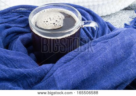 Mug With Coffee Wrapped In Blue Cotton Scarf