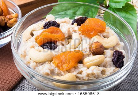 View Close-up On A Portion Of Oatmeal With Fruit