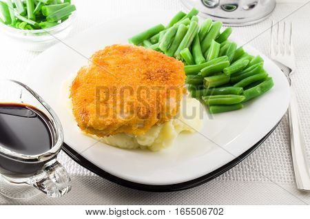 Fried Chicken And Green Beans And Mashed Potatoes