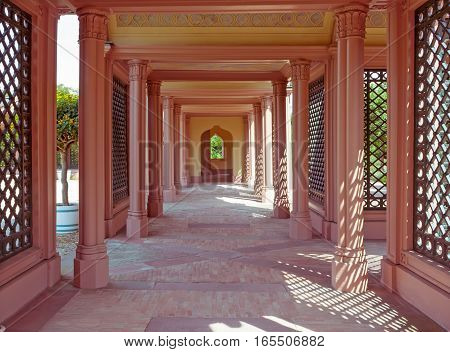 Courtyard of the mosque in the palace garden in Schwetzingen city Germany .