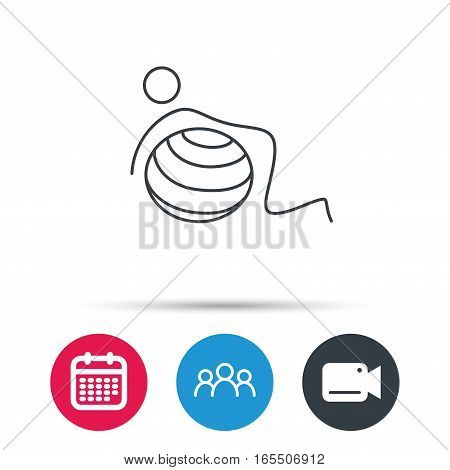 Gymnastic ball icon. Pilates fitness sign. Sport workout symbol. Group of people, video cam and calendar icons. Vector