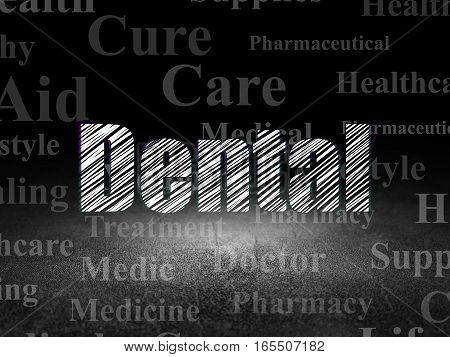 Health concept: Glowing text Dental in grunge dark room with Dirty Floor, black background with  Tag Cloud