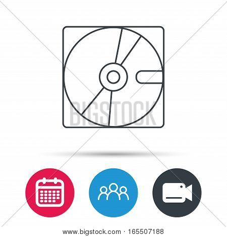 Harddisk icon. Hard drive storage sign. Group of people, video cam and calendar icons. Vector