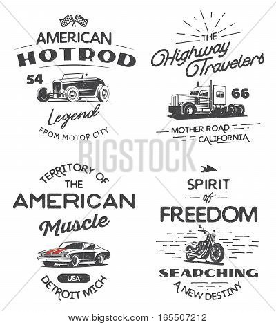 Set of typography logo of muscle car heavy truck motorcycle and hot rod isolated on white background. T-shirt print design.