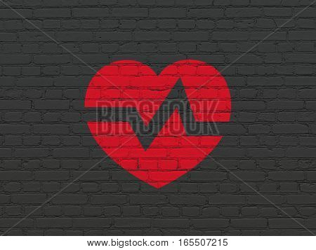 Health concept: Painted red Heart icon on Black Brick wall background