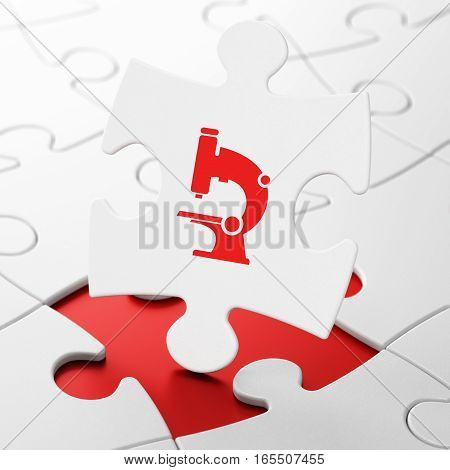 Science concept: Microscope on White puzzle pieces background, 3D rendering