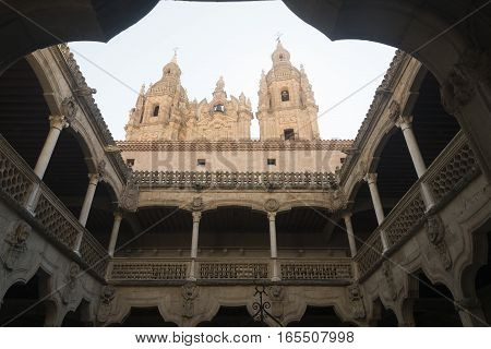 SALAMANCA, SPAIN - JULY 24, 2016: Salamanca (Castilla y Leon Spain): courtyard of the historic palace known as Casa de las Conchas