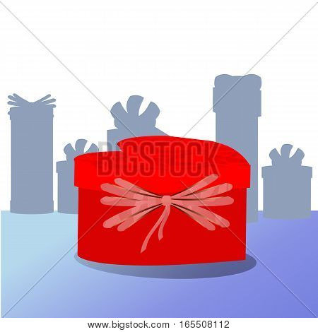Gift In Box With Red Bow. In The Form Of Heart