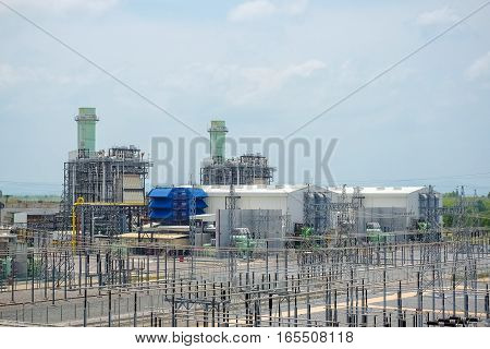 Combine cycle power plant with switch yard and clear sky