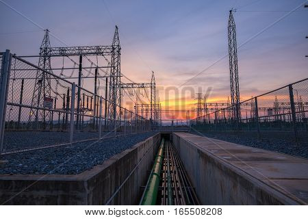 Switch Yard In Fuel Gas Power Plant With Evening Light