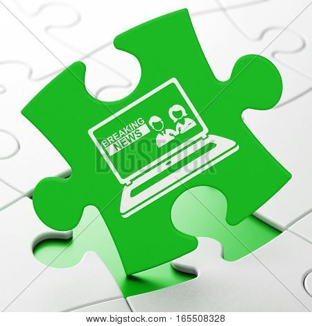News concept: Breaking News On Laptop on Green puzzle pieces background, 3D rendering