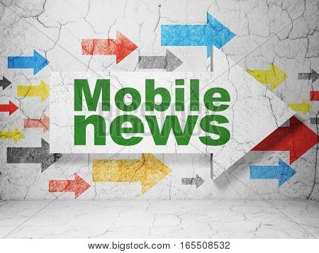 News concept:  arrow with Mobile News on grunge textured concrete wall background, 3D rendering