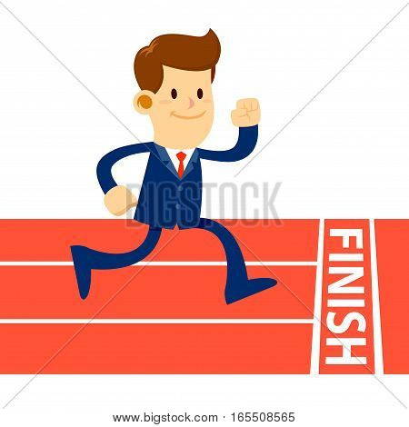 Vector stock of a businessman run to finish line in running track