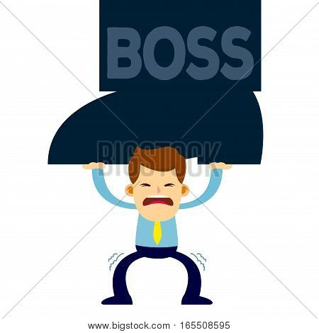 Vector stock of a businessman trying to lift big foot from him
