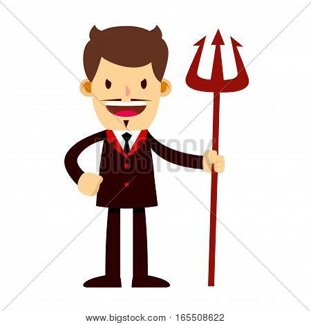 Vector stock of a businessman in suit with a scary face holding a trident