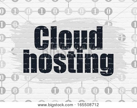 Cloud computing concept: Painted black text Cloud Hosting on White Brick wall background with Scheme Of Binary Code