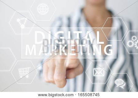 Digital marketing concept with businesswoman hand and text