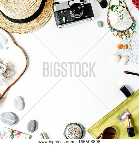 Travel set frame: straw hipster retro camera map clutch. Flat lay top view