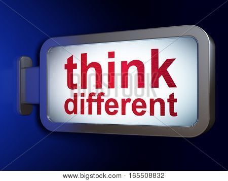 Studying concept: Think Different on advertising billboard background, 3D rendering