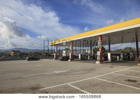 ROME ITALY - NOVEMBER 7 : Agip gas station in route from napoli to rome Agip most popular car service station in italy on november 7 2016 in rome italy