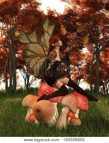Fantasy illustration of a autumn fairy dressed in brown with red hair and leaf wings, sitting on a woodland toadstool and playing with scattered swirling leaves, digital illustration (3d rendering)
