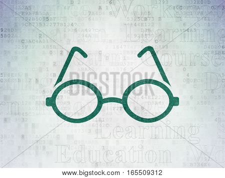 Learning concept: Painted green Glasses icon on Digital Data Paper background with  Tag Cloud