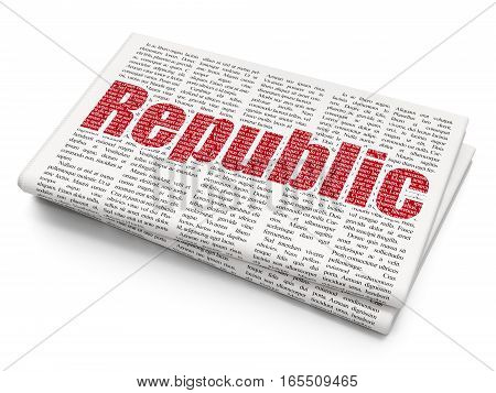 Political concept: Pixelated red text Republic on Newspaper background, 3D rendering