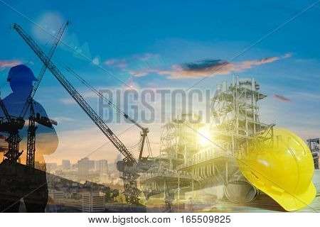 Silhouette Young Engineer Working Construction Standards In Line With Global Construction Environmen