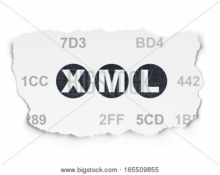 Database concept: Painted black text Xml on Torn Paper background with  Hexadecimal Code