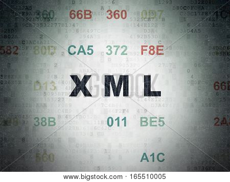 Programming concept: Painted black text Xml on Digital Data Paper background with Hexadecimal Code