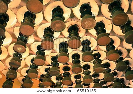 Group Of Pattern Of Old Vintage Storm Lanterns, Hurricane Lamp Hang On Ceiling Wood. Vintage Lamp Co