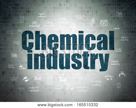 Manufacuring concept: Painted blue text Chemical Industry on Digital Data Paper background with  Hand Drawn Industry Icons