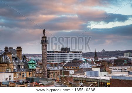 Grey's Monument in Newcastle Skyline, at the city centre, towering above the rooftops looking south