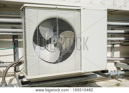 Outdoor compressor of air conditioner at building
