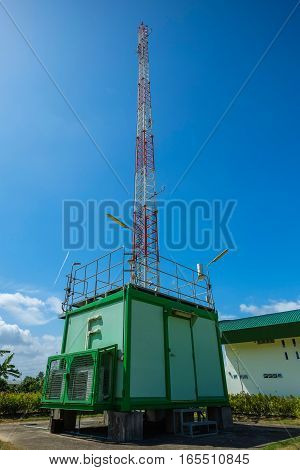 Air measuring station in power plant with clear sky