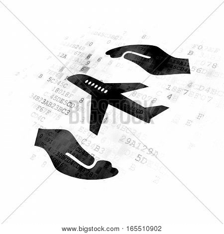 Insurance concept: Pixelated black Airplane And Palm icon on Digital background