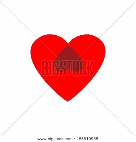 Heart two isolated. Red sign on white background. Romantic silhouette symbol linked join love passion and wedding. Colorful mark of valentine and women day. Design element. Vector illustration