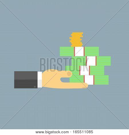 Businessman is holding cash. Vector illustration .