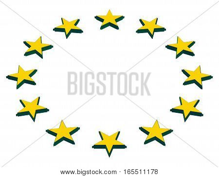 The circle of gold stars isolated on white background (Vector EPS)