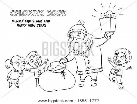 Santa Claus brings gifts to children. Merry Christmas and happy New Year. Funny cartoon character. Vector illustration. Coloring book. Black and white image