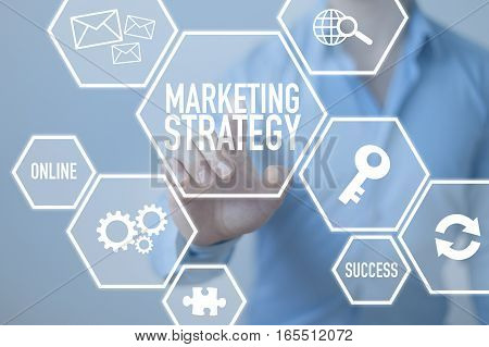 Marketing strategy business strategy concept with businessman
